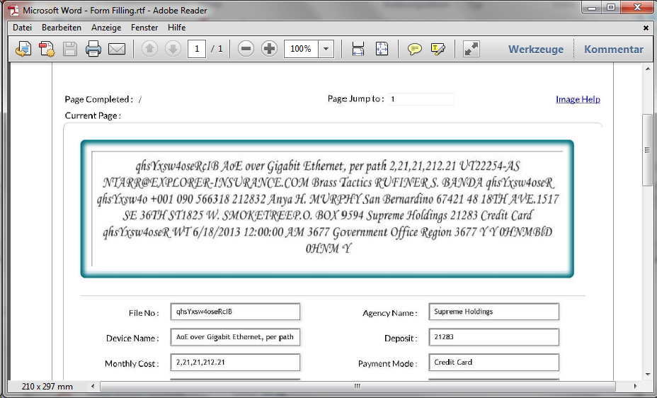 Screenshot Sample Form