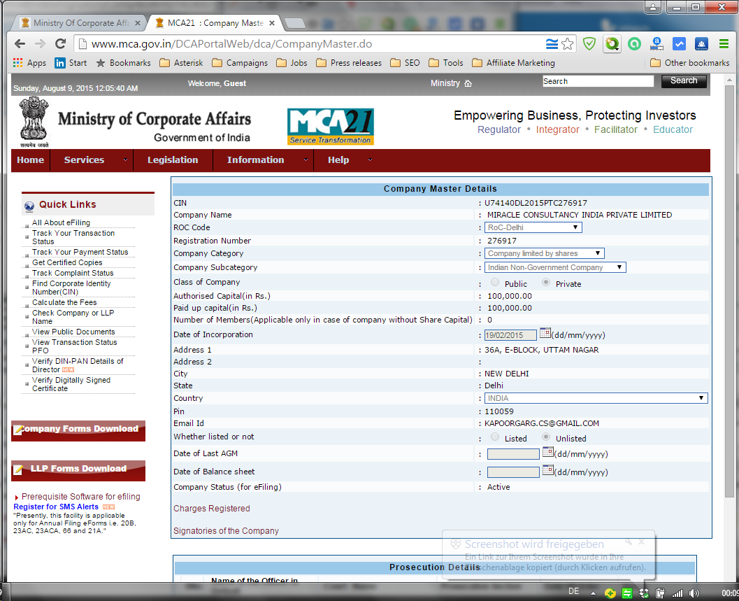 Ministry of Corporate Affairs - Miracle Consultancy India - company registration