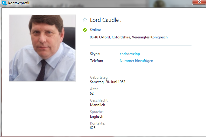 Christopher Caudle titles himself as Lord Caudle