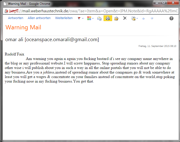 Screenshot of the threatening email from Omer Ali