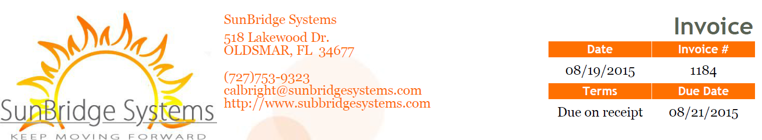 Invoice header of SunBridge Systems