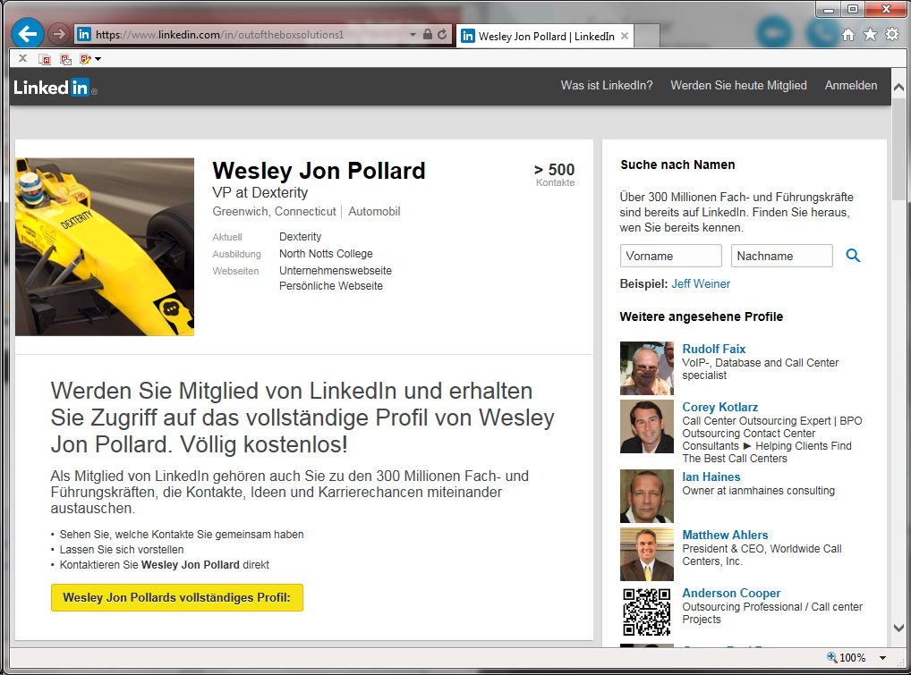 Screenshot of the public LinkedIn profile without login