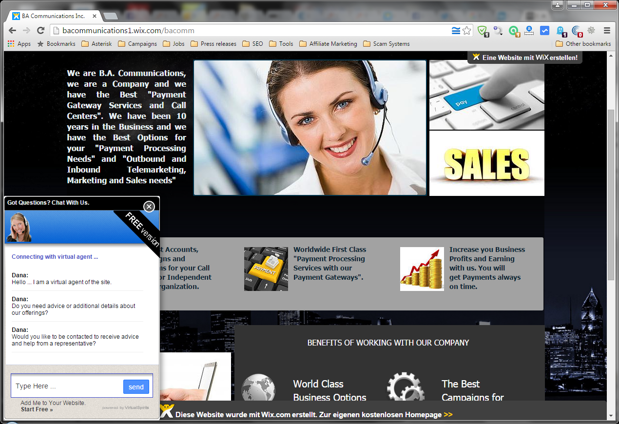 Screenshot of the Website from BA Communications
