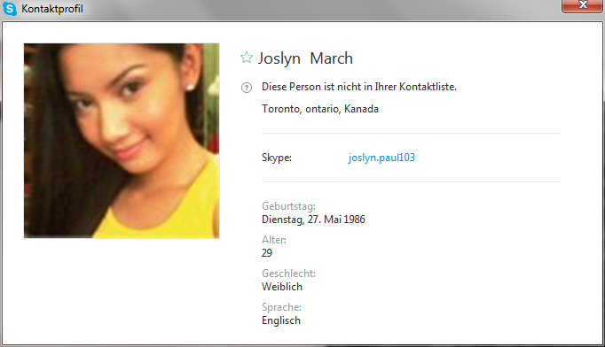 Skype profile of the scammer Joslyn March - joslyn.paul103
