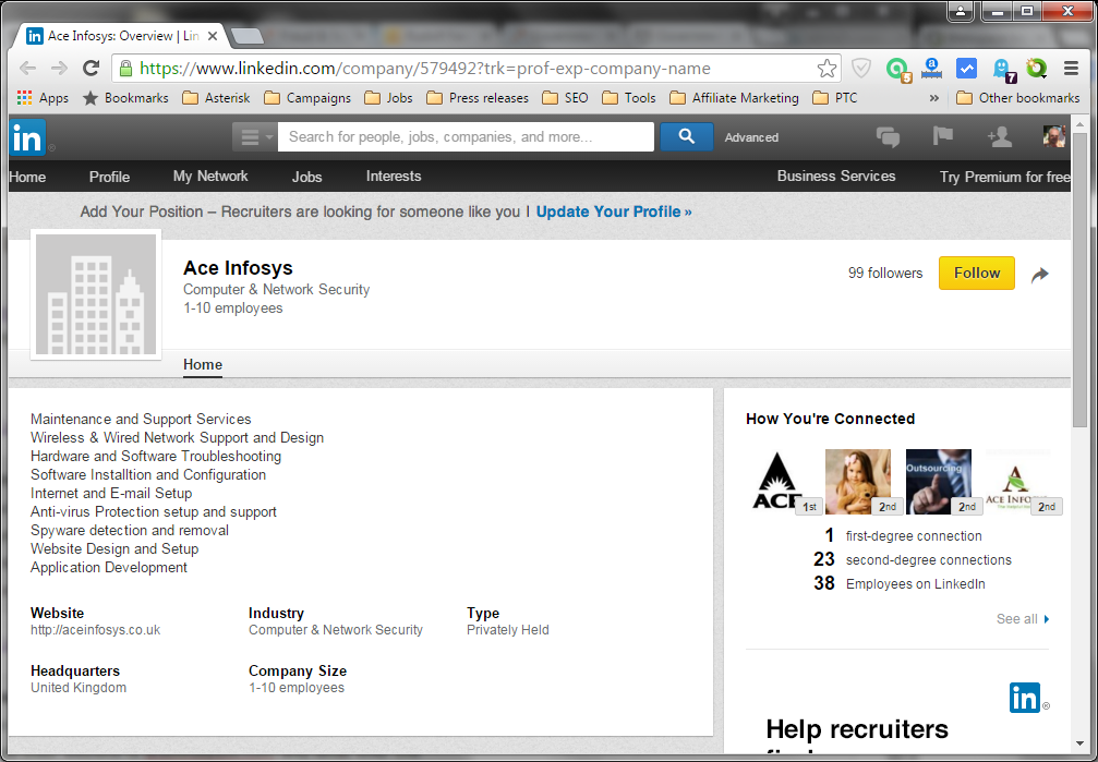 LinkedIn company page from Ace Infosys