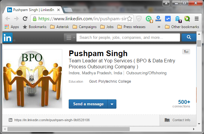 LinkedIn profile header from Pushpam Singh