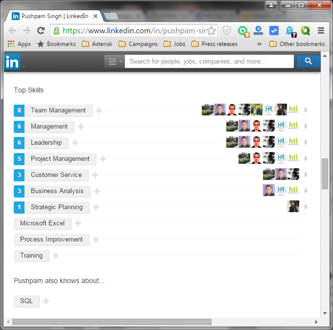 LinkedIn skills from Pushpam Singh
