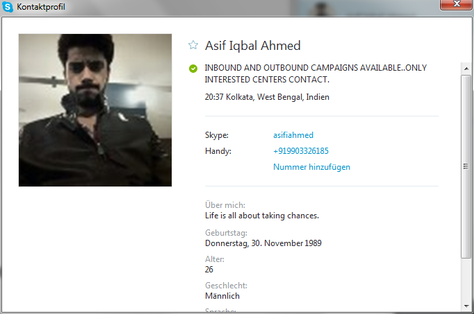 Skype profile from the scammer Asif Iqbal Ahmed