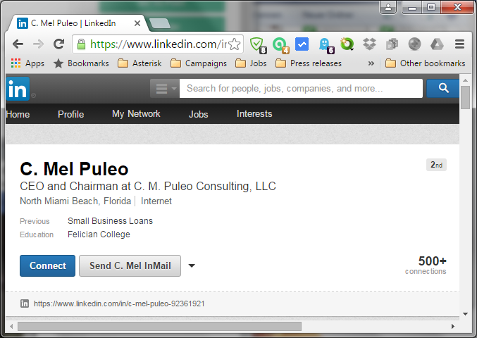 LinkedIn profile from C. Mel Puleo