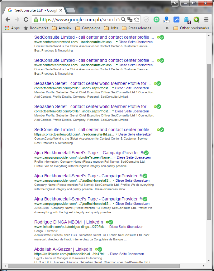 Googles search results for SedConsulte Limited