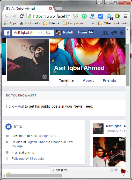 Screenshot of the Facebook profile from Asif Iqbal Ahmed