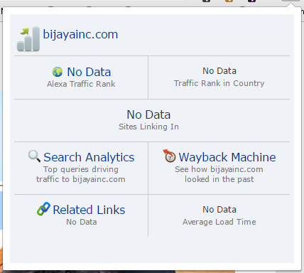 Screenshot from the Alexa ranking of the domain bijayainc.com