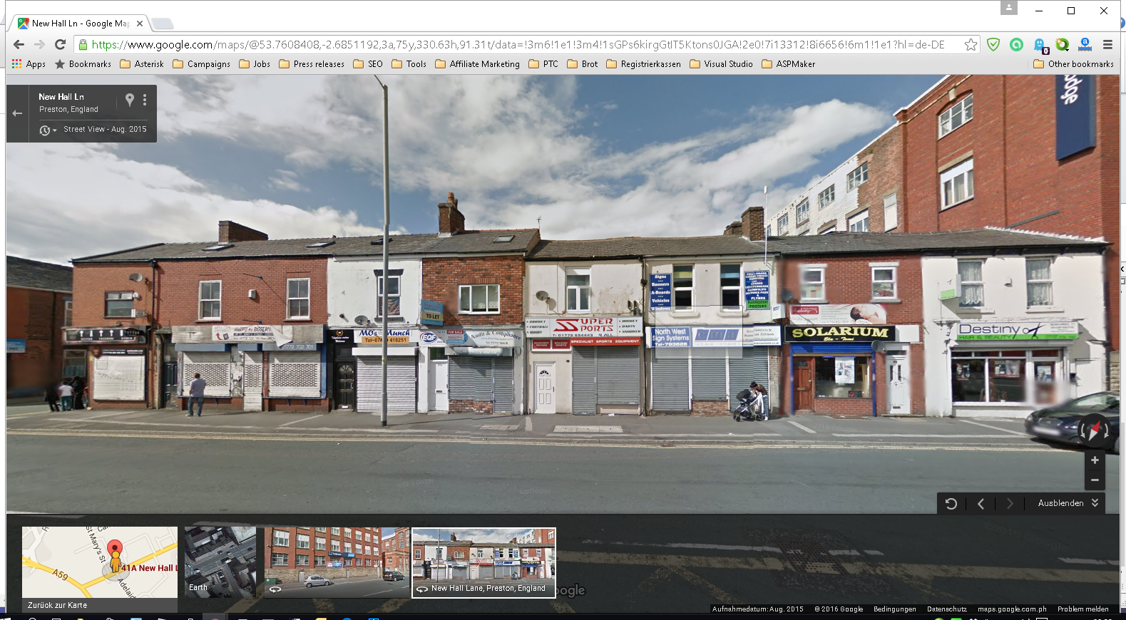 Google Street View from 41 New Hall Lane, Preston, United Kingdom, PR1 5NX