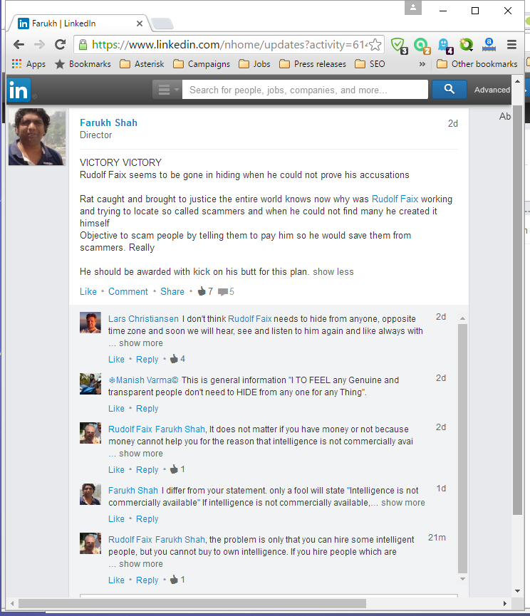 LinkedIn posting from Farukh Shah starting with VICTORY, VICTORY, ...