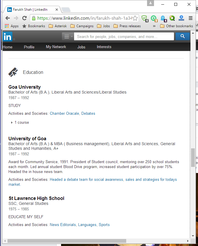 LinkedIn profile Farukh Shah - education