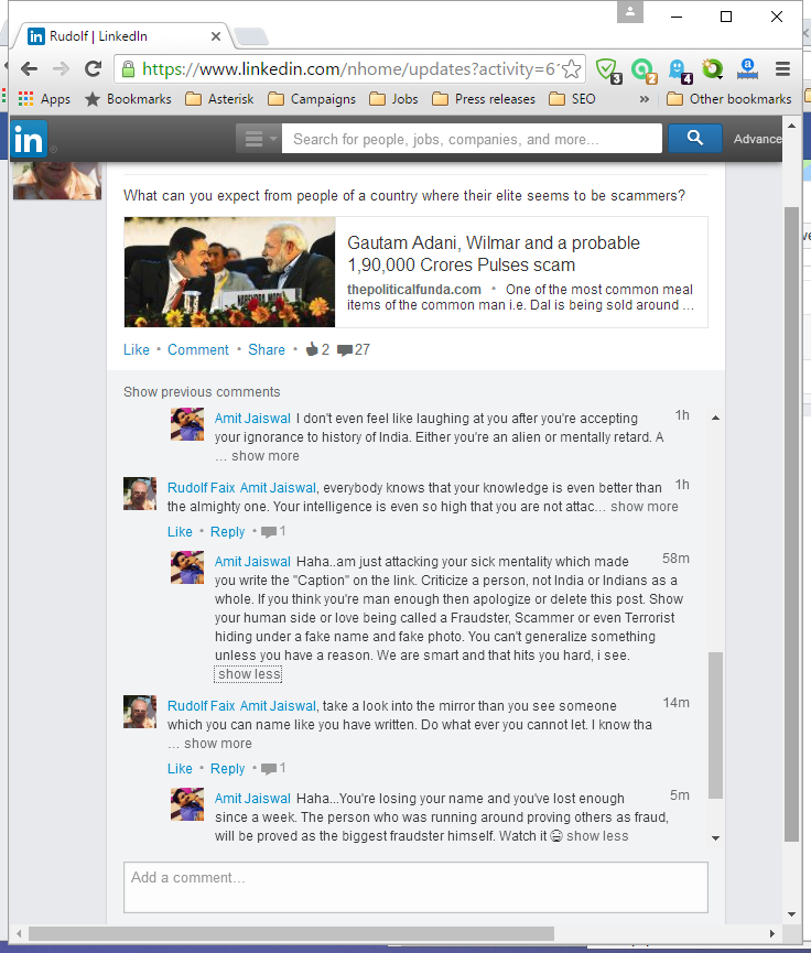 The discussion at LinkedIn shows the kind of people from India which are thinking that they are professionals