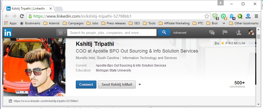LinkedIn profile of Kshitij Tripathi