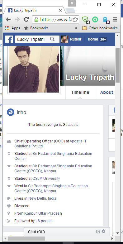Facebook profile of Kshitij Tripathi aka Lucky Tripathi
