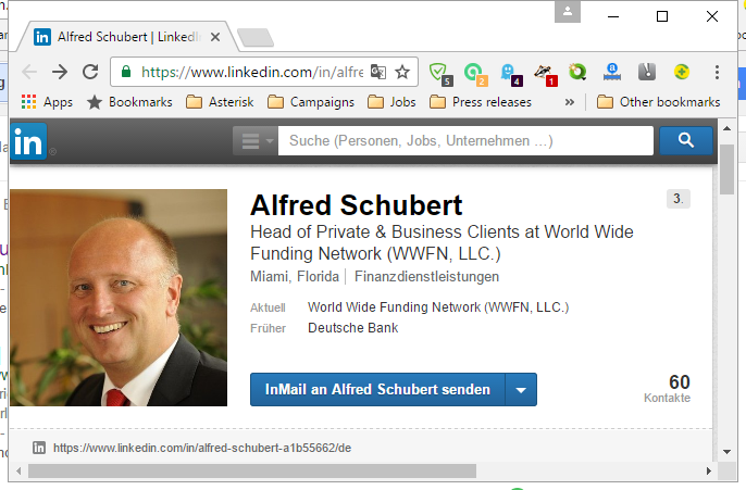 LinkedIn profile from the Scammer Alfred Schubert showing the picture from Thomas Müller, Chief Executive at Sparkasse Goch-Kevalaer-Weeze (Germany)