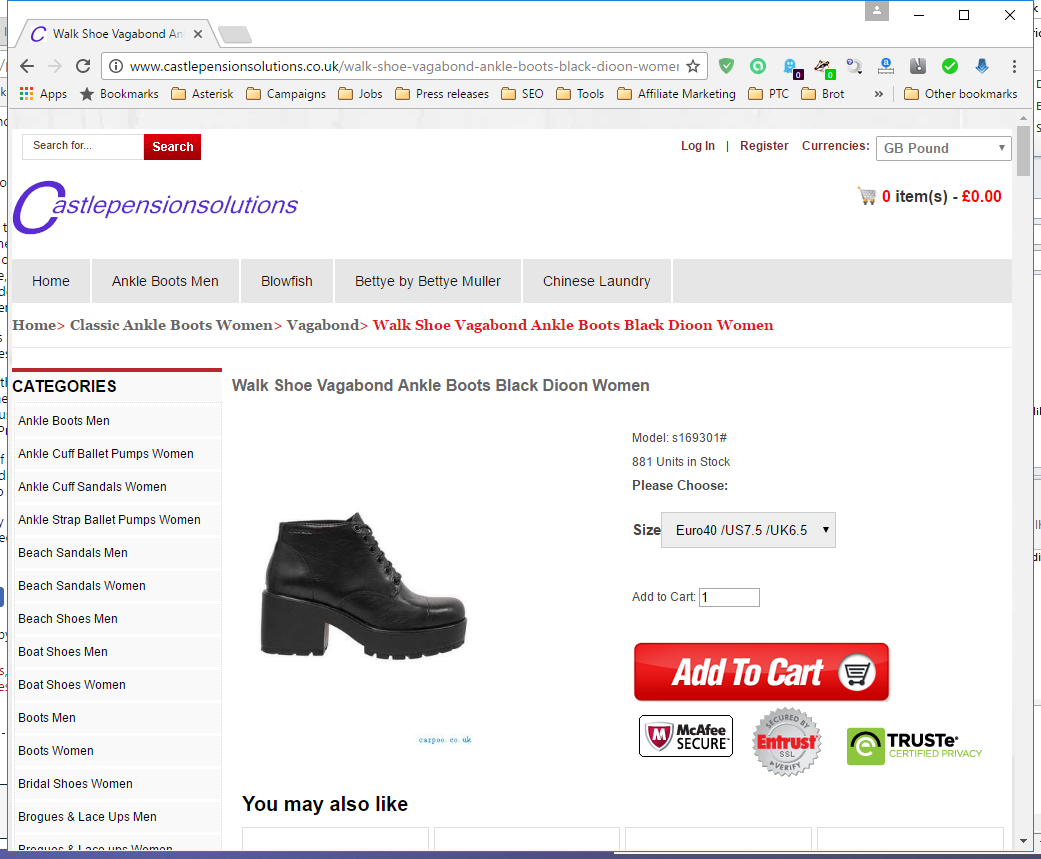 Screenshot from castlepensionsolutions.co.uk - an online shoe shop without showing any prices and without any imprint