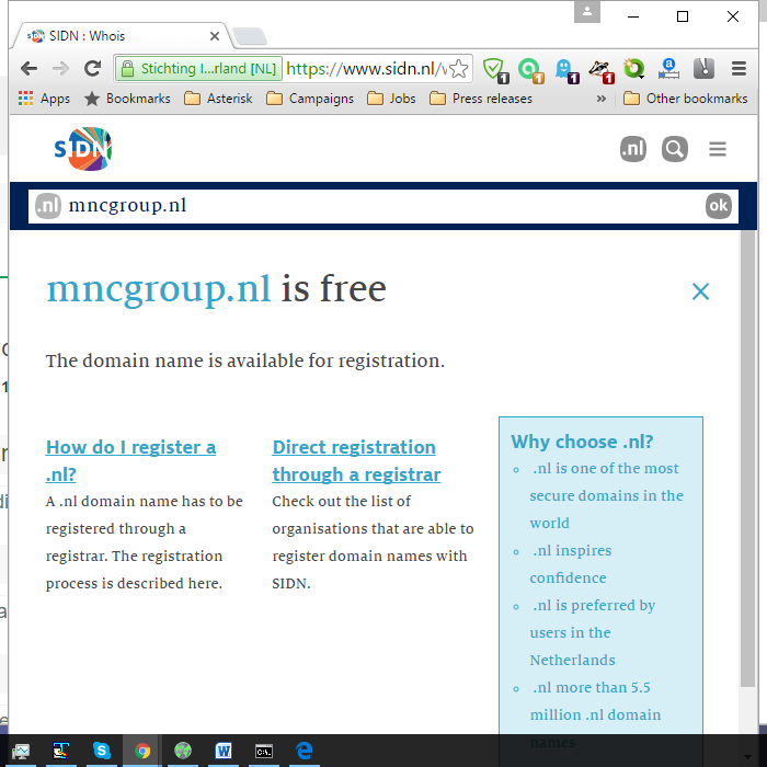 Screenshot from the Netherlands domain registry for the domain mncgroup.nl