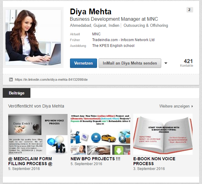 Screenshot of the LinkedIn profile from the scammer Diya Mehta