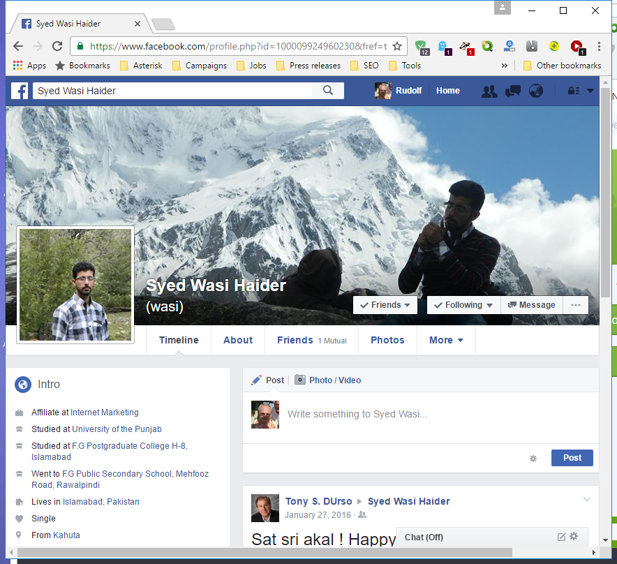 Syed Wasi Haider at Facebook