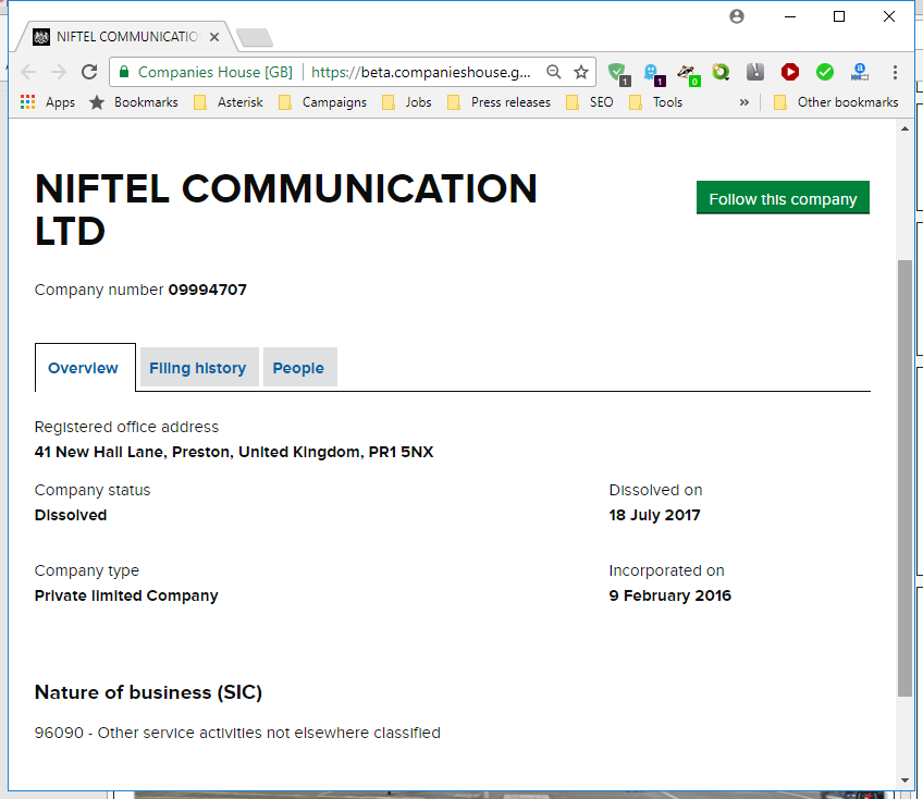 UK Companies House - Niftel Communication LTD